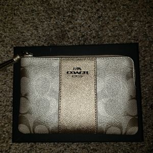 Silver and Gold Coach Wristlet